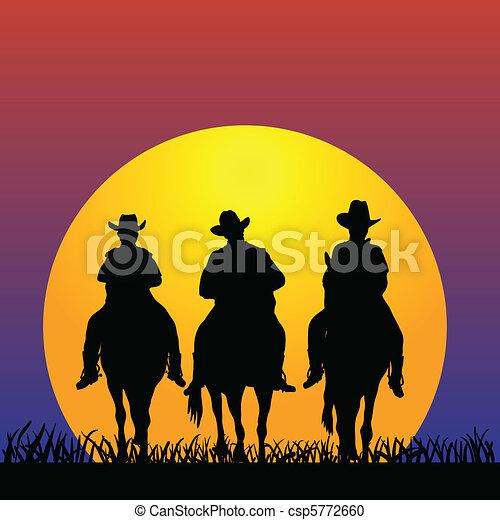 Three Cowboys at sunset - csp5772660