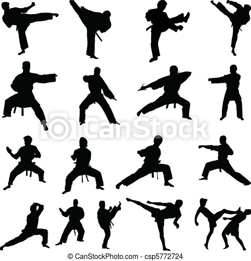 Various karate poses silhouettes - csp5772724