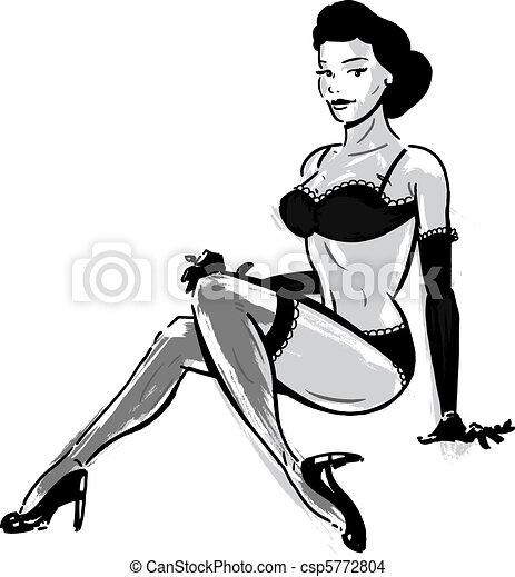 Burlesque dancer in underwear - csp5772804