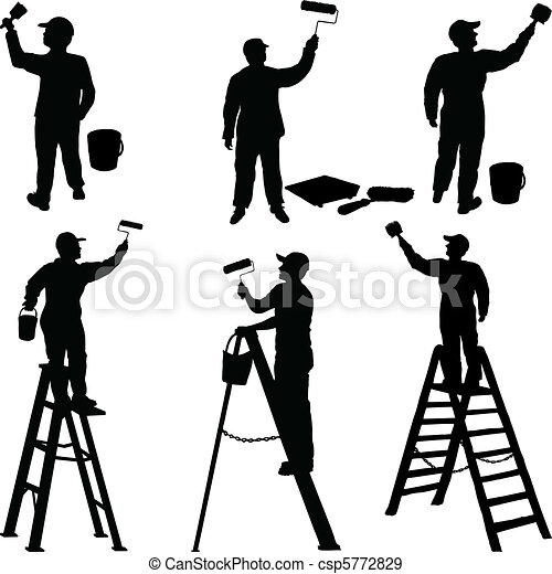 Various workers painters silhouette - csp5772829