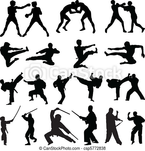 Various martial arts silhouettes - csp5772838
