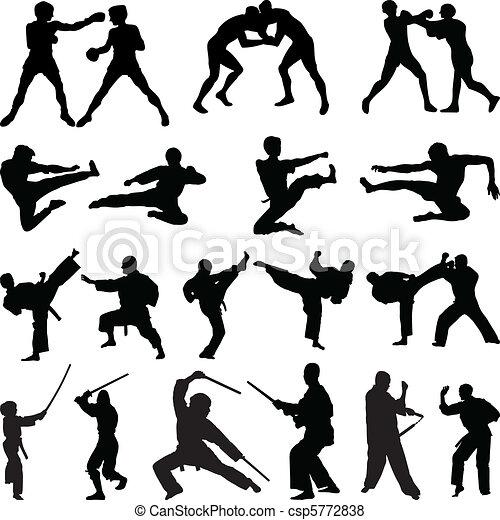 Various martial arts silhouettes - csp5772838