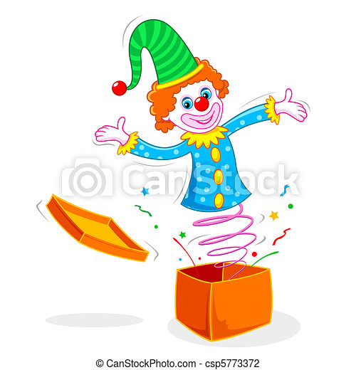 Clown coming out of Box - csp5773372