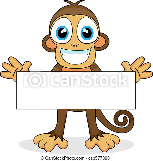 cute monkey with blank sign  - csp5773931