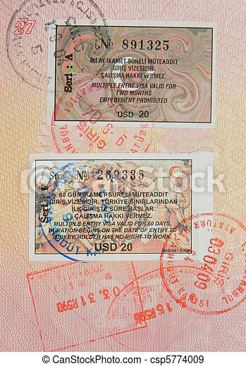 passeport, turc, visa, timbres - csp5774009