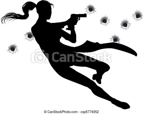 Gunfight action woman - csp5774052