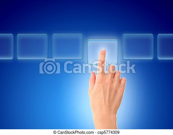 Hand pressing a button. - csp5774309