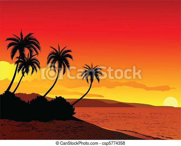 Vettore di tropicale spiaggia illustrazione vettore for Disegni di casa sulla spiaggia tropicale