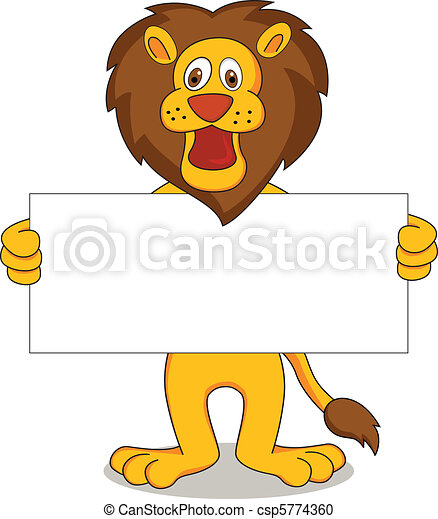 vector illustration of lion cartoon - csp5774360