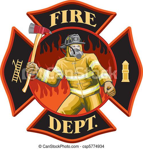 Firefighter Inside Cross Symbol - csp5774934