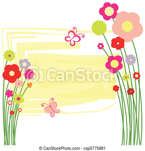 Springtime flora postcard with butterfly - csp5775981