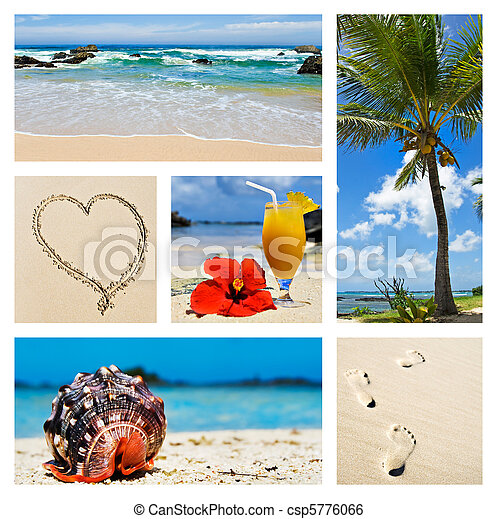 Collage of tropical island scenes - csp5776066
