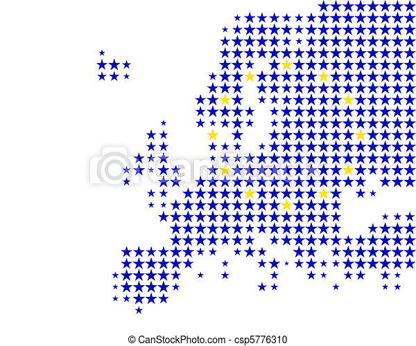 Map and flag of Europe - csp5776310