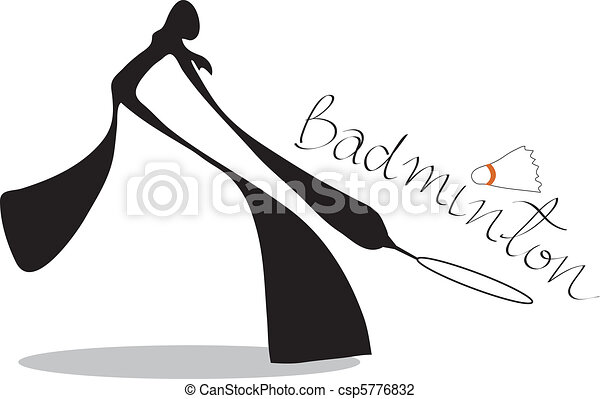 shadow man badminton cartoon - csp5776832