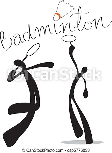 shadow man badminton cartoon - csp5776833