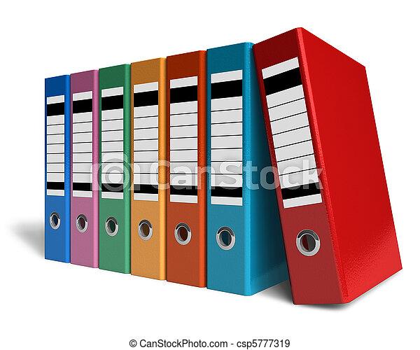 couleur, dossiers, bureau, rang - csp5777319