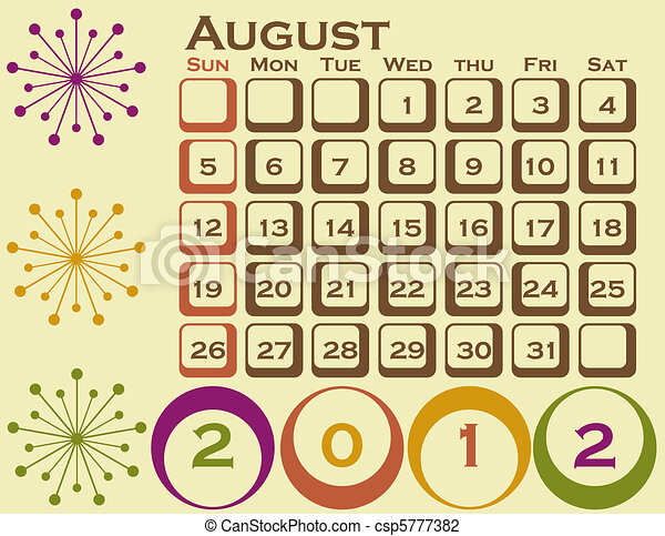 2012 Retro Style Calendar Set 1 August - csp5777382
