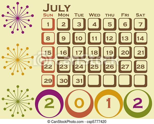 2012 Retro Style Calendar Set 1 July - csp5777420