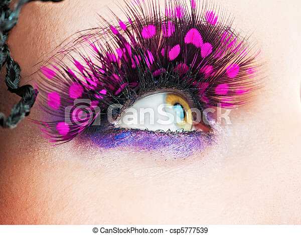 Woman eyes with stylish eyelashes - csp5777539