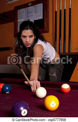 girl on a snooker table