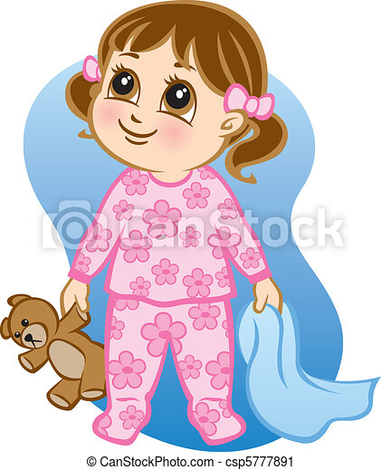 Vector Clip Art of Time for Bed - Illustration of a toddler wearing pajamas and... csp5777891 ...