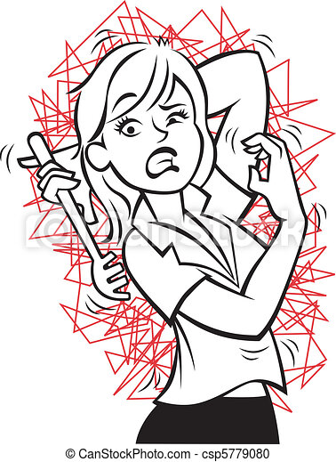 Vector Clipart of Crazy Itch - Vector illustration of a woman ...