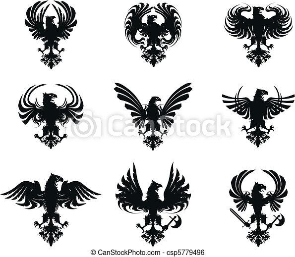 heraldic eagle coat of arms set  - csp5779496