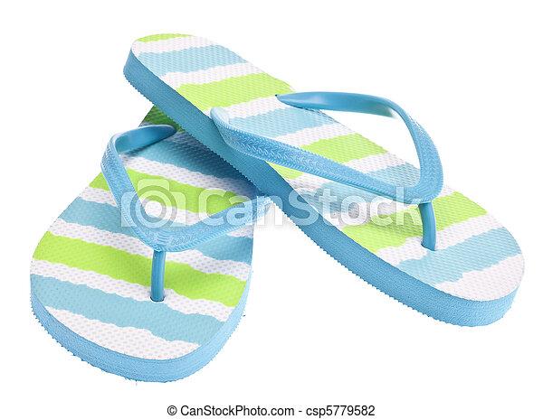 Blue and Green Flip Flop Sandals - csp5779582
