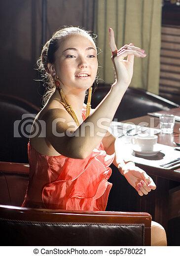 woman at restaurant - csp5780221