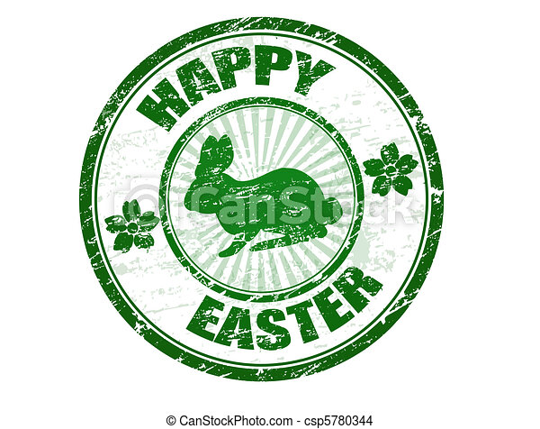 Happy Easter stamp - csp5780344