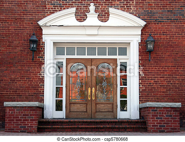 Antique double leaded glass doors - csp5780668