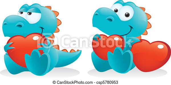 Cute Baby Dinosaur Posing With Hearts - csp5780953