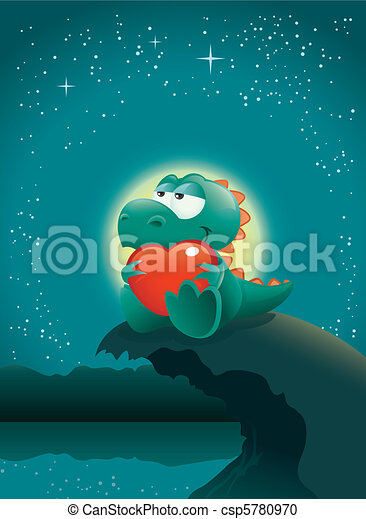 Valentine night scene with an adorable baby dinosaur deeply in love. The vector file is layered for easier editing. Great spacing for text, perfect for any Valentine's Day illustration needs! - csp5780970