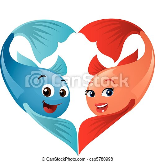 Cute Valentine fish couple forming a heart. A fun cartoon approach to your Valentine's Day needs! - csp5780998