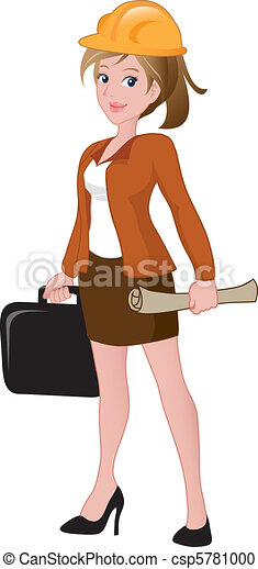 Beautiful female architect holding a briefcase and blueprint. - csp5781000