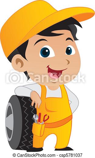 Cute little mechanic boy - csp5781037