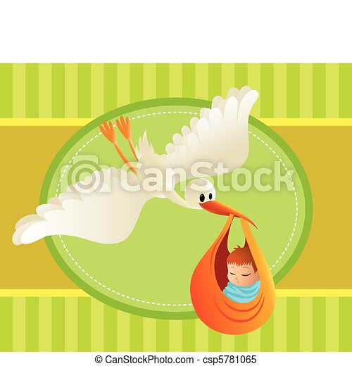 Illustration of a stork delivering a baby on colorful background. Great spacing for text. Perfect for cards and banners. - csp5781065
