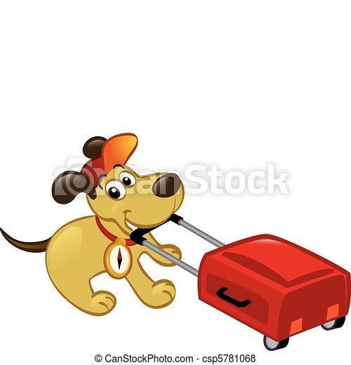 Traveling Dog Pulling A Luggage - csp5781068