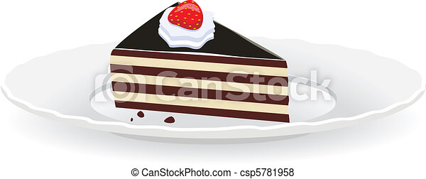 Clipart Slice Of Cake On A Plate : Vector of cake slice on a plate - vector fruit and ...
