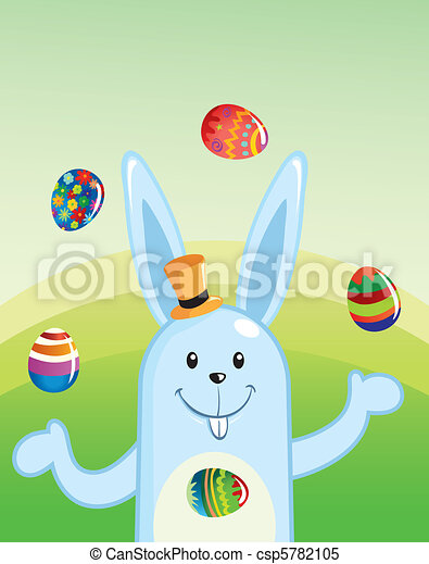 Cartoon Easter Bunny Juggling Painted Eggs - csp5782105