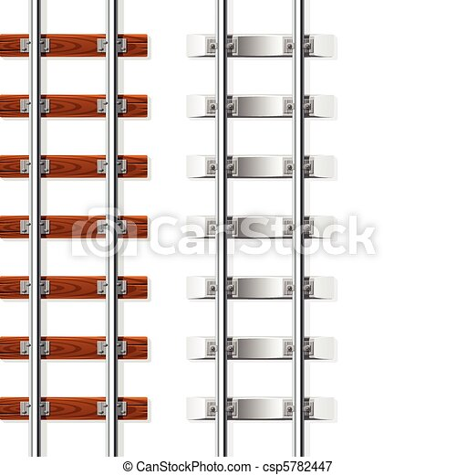 railroad with wooden and cement sleeper vector illustration isolated on white background - csp5782447