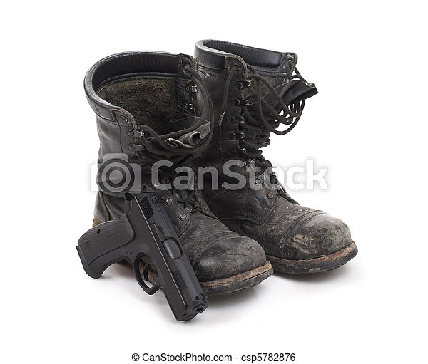 Old worn military boots - csp5782876
