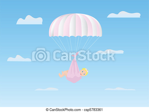 The girl on a parachute - csp5783361