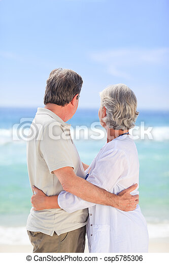Elderly man embracing her wife - csp5785306