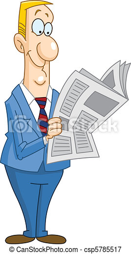 Businessman reading newspaper - csp5785517