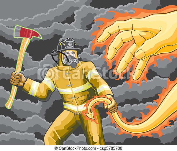Firefighter Fights Fire Demon - csp5785780