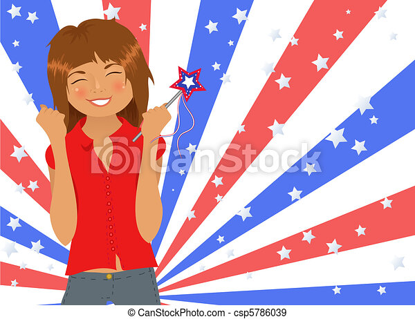 Attractive girl celebrating Fourth of July - csp5786039