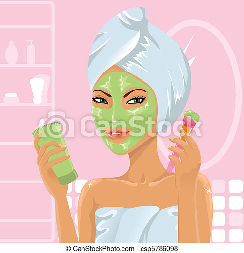 Girl applying facial mask - csp5786098