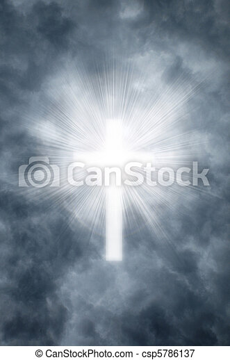 Religious cross shining through clouds - csp5786137