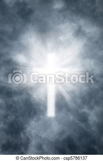 Religious cross shining through clouds - csp5786137